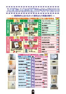 入居者に人気の設備ランキング2016