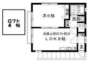 1DK+ロフト間取図